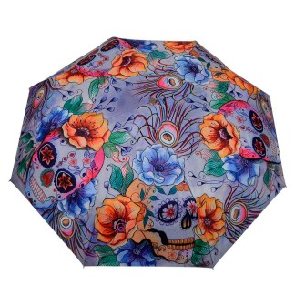 "Anuschka Art Foldable Umbrella 42"" Canopy Coverage Rain or Sun UV Protection Windproof Calavers de Azucar"