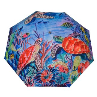 "Anuschka Art Foldable Umbrella 42"" Canopy Coverage Rain or Sun UV Protection Windproof Ocean Treasures"