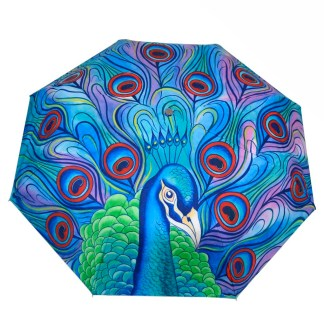 "Anuschka Art Foldable Umbrella 42"" Canopy Coverage Rain or Sun UV Protection Windproof Jeweled Plume"