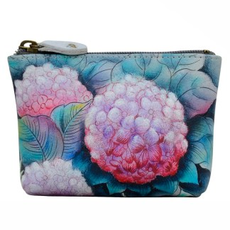 Anuschka Leather Ladies Coin Pouch Small Hypnotic Hydrangeas