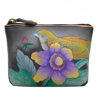 Anuschka Leather Ladies Coin Pouch Small Vintage Bouquet