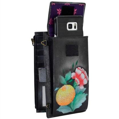 Anuschka Leather Large Smart Phone Case Wallet Crossbody Purse Vintage Bouquet