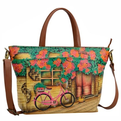 Anuschka Leather Large Organizer Tote w RFID Vintage Bike