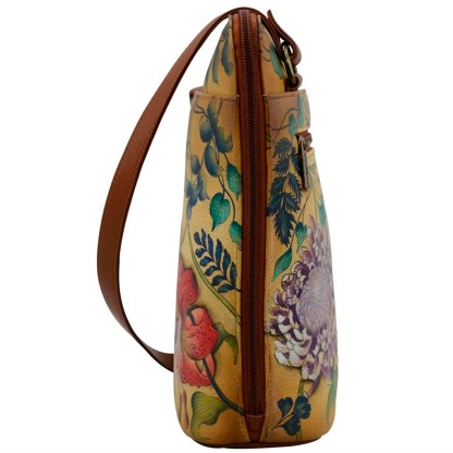 Anuschka Leather Two Sided Zip Travel Organizer Caribbean Garden