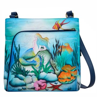 Anuschka Leather RFID Organizer Crossbody Little Mermaid