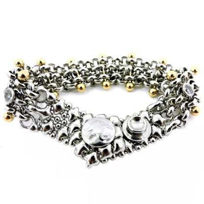 SG Liquid Metal Chain Mesh Bracelet with 24 K Gold Pins And Cubic Zircon by Sergio Gutierrez