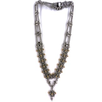 SG Liquid Metal Chain Link Lariat Necklace with 24 K Gold Pins by Sergio Gutierrez
