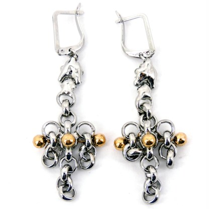 SG Liquid Metal Chain Link with 24 K Gold Pins Earrings - by Sergio Gutierrez