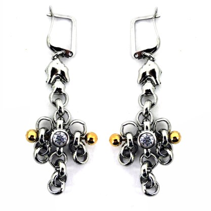 SG Liquid Metal Chain Link with 24 K Gold Pins and Cubic Zircone Earrings - by Sergio Gutierrez