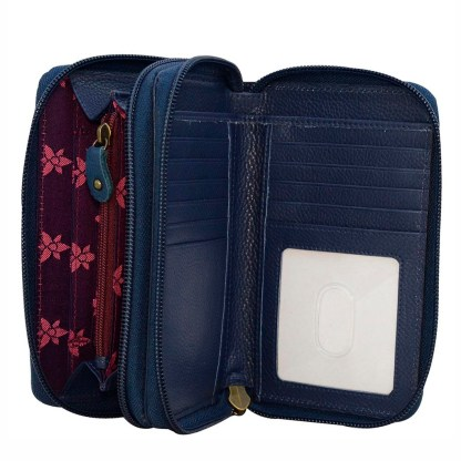 Anuschka Leather Twin Zip Around Organizer Wallet Moonlit Meadow