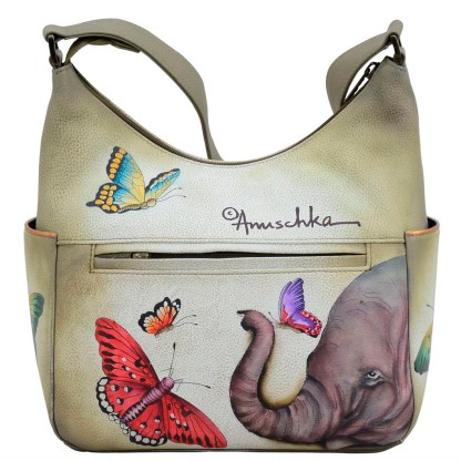 Anuschka Leather Classic Hobo with Side Pockets Gentle Giant