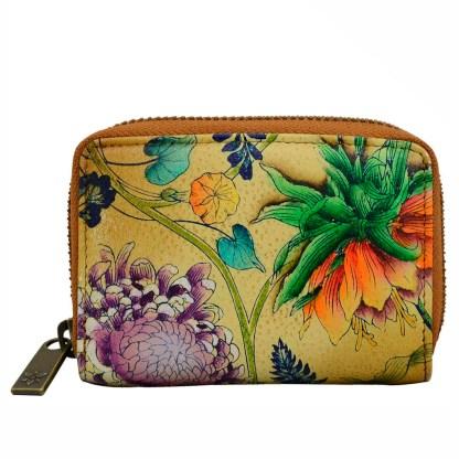Anuschka Leather Accordion Credit Card Wallet Caribbean Garden
