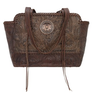 American West Leather - Multi Compartment Tote Bag - Annie's Secret - Concealed Carry  Charcoal Brown