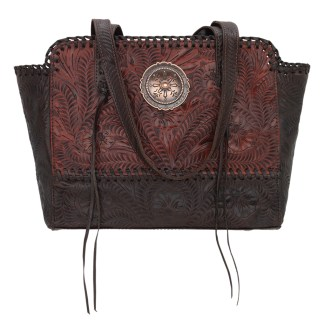 American West Leather - Multi Compartment Tote Bag - Annie's Secret - Concealed Carry Crimson Brown