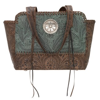American West Leather - Multi Compartment Tote Bag - Annie's Secret - Concealed Carry Turquoise Brown