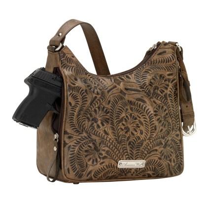American West Leather - Shoulder Handbag Hobo Sand - Annie's Secret - Concealed Carry