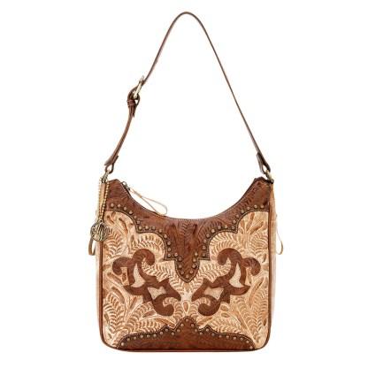 American West Leather - Shoulder Handbag Hobo Brown - Annie's Secret - Concealed Carry