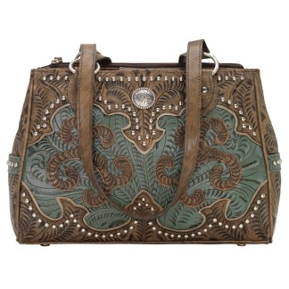 American West Leather - Multi Compartment Tote Bag - Annie's Secret - Concealed Carry  Turquoise