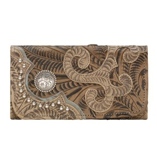 American West Leather - Tri-Fold Ladies Wallet - Sand - Annie's Secret - Concealed Carry