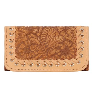 American West Leather - Tri-Fold Ladies Wallet - Brown - Baja Escape