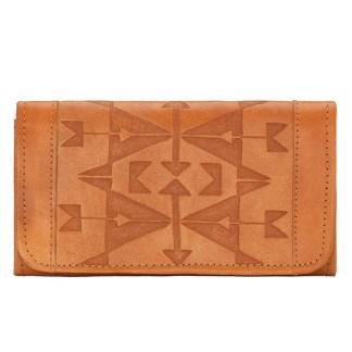 American West Leather - Tri-Fold Ladies Wallet - Tan - Crossed Arrows