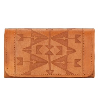 American West Leather - Tri-Fold Ladies Wallet - Tan - Crossed Arrows