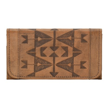 American West Leather - Tri-Fold Ladies Wallet - Brown - Crossed Arrows
