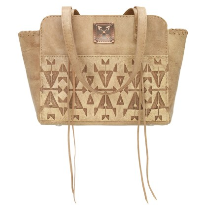 American West Leather - Multi Compartment Tote Bag - Crossed Arrows Cream