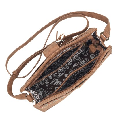 American West Bandana Zip Top Crossbody Handbag Brown - Del Rio