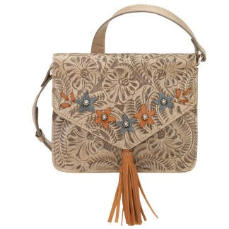American West Leather - Small Cross Body Handbag  Sand - Flower Power