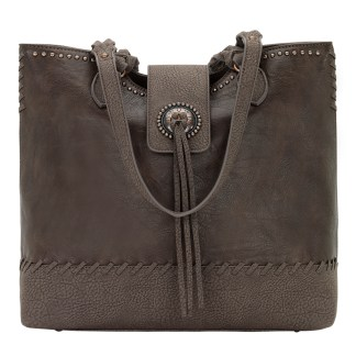 American West Bandana Zip Top Shoulder Handbag Medium Brown - Concealed Cary [CLONE]