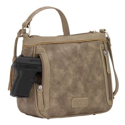 American West Bandana Zip Top Crossbody Handbag  Stone - Concealed Cary