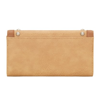 American West Bandana Ladies By-Fold Wallet Tan w Thunderbird Concho