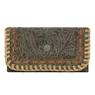 American West Leather - Tri-Fold Ladies Wallet - Turquoise Multi - Messila