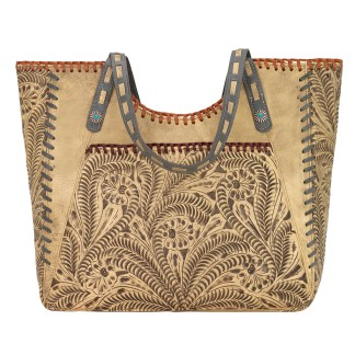 American West Leather -Large Shopper Tote Bag - Sand - Mesilla