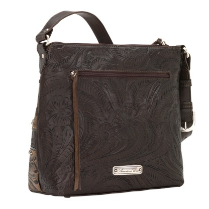 American West Leather - Shoulder Handbag Hobo Chocolate - Saddle Ridge