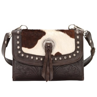 American West Leather - Small Crossbody Handbag - Wallet - Chocolate w Hair - Cow Town