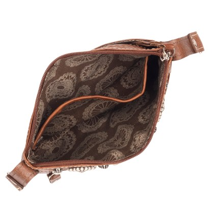 American West Leather - Small Cross Body Handbag Brown - Trail Rider