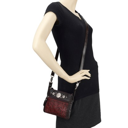 American West Leather - Small Cross Body Handbag Crimson - Trail Rider