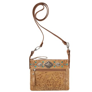 American West Leather - Small Cross Body Handbag Tan - Trail Rider