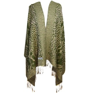 Silver Fever Pashmina-Leopard Animal Print Shawl- Stylish Soft Scarf Wrap Green Beige
