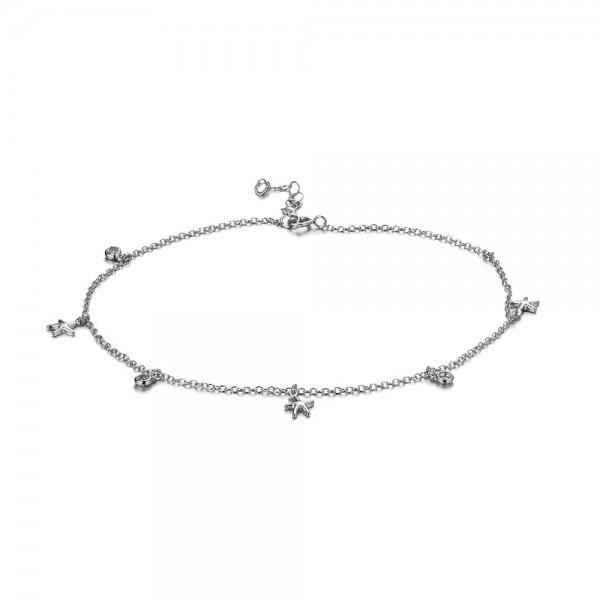 Tobillera estrella circonita plata