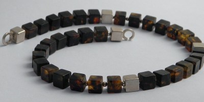 806 - Cube Amber Earrings