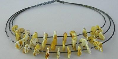 891 - Triple Strand Multi Amber Necklace