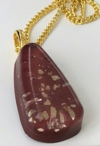 Golden Autumn- Resin + Mica Flakes +Concrete pendant with gold plated chain. £10 + post and packaging.