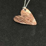 Art Copper Clay pendant with and sterling silver chain