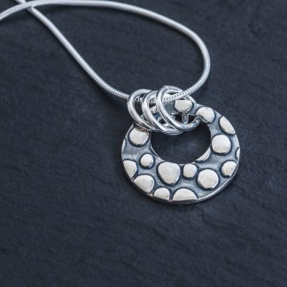 Fine Silver textured pendant oxidised comes with 45cm snake chain