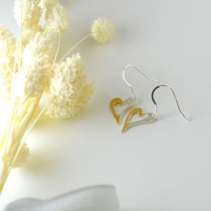 Half and half Heart Dangle Earrings