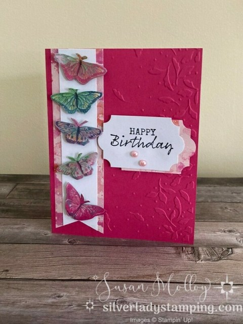 Melon Mambo cardstock embossed with Meadow Moments embossing folder. Butterlies fussy cut from new Butterfly Bouquet DSP. Happy Birthday sentiment stamped with black ink onto white cardstock and punched out using Everyday Label punch