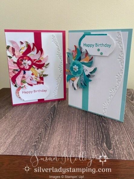 Pink and blue flower petal card made by punching out petals from the leaf image of the Tulip Builder punch